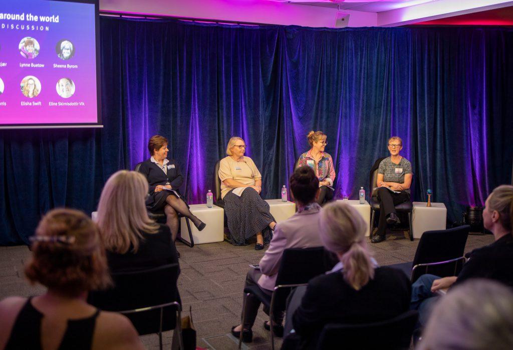 Lynne Buetow, Marcia Morris, Elisha Swift, and Sue Hampton in a panel discussion.
